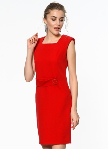 Vatkalı Toka Detaylı Mini Elbise-İroni